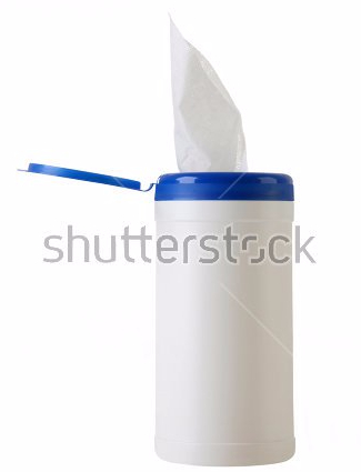 Stock photo of a canister of disinfectant wipes.